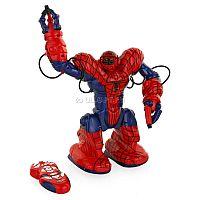 WowWee SpiderSapien (8073) - полнофункциональная интерактивная игрушка, стилизованная под любимого супер-героя мальчишек - Человека-Паука. Модель поражает широким спектром игровых возможностей: умеет двигаться и разговаривать как кино-прототип, изображать сражение, «выбрасывать паутину» с характерным звуковым эффектом, а также имеет возможность программирования в четырех различных вариантах для последовательного выполнения до 67 легких действий и 3 демонстрационных режима. В комплекте имеется удобный трансмиттер с необходимым набором кнопок и понятным интерфейсом. В комплекте имеется удобный трансмиттер с необходимым набором кнопок и понятным интерфейсом. Приятной особенностью служит наличие акустического датчика, отвечающего за выполнение команд по хлопку или другому громкому звуку.