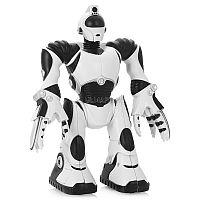 Mini Robosapien V2 - очаровательный электронный компаньон для вашего малыша, являющийся аналогом большого интерактивного робота от WowWee. Мини-робот умеет перемещаться по ровной поверхности и двигать конечностями, во время работы его глаза светятся. Игрушка функционирует от обычных батареек типоразмера «ААА» и практически в любой момент готова к эксплуатации.