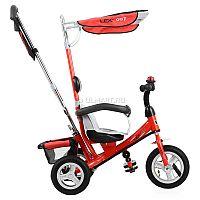 Велосипед трехколесный VipLex 903-2А - функциональный способ передвижения для Вашего ребенка на прогулке. Продуманная до мелочей конструкция подарит ему комфорт, а Вам чувство спокойствия за его безопасность. Велосипед подойдет для детей от полутора лет или ростом от восьмидесяти до ста сантиметров. За сохранность крохи можно не волноваться благодаря пятиточечным ремням безопасности, которые надежно фиксирует его положение. Мягкие накладки не допускают натирание кожи или ее передавливание. Рифленая поверхность педали не дает ножкам скользить. Если они устанут их крутить, то малыш всегда сможет поставить ноги на специальную подножку с ребристыми резиновыми накладками, а родители смогут продолжить катать с помощью родительской ручки. Звонкий хромированный звонок наверняка понравится ребенку, с его помощью он сможет оповещать о своем движении. В багажной корзинке, которую легко прикрепить сзади, можно перевозить необходимые детские мелочи. Тент-капюшон позволит быть готовым к капризам погоды. VipLex 903-2А возьмет все хлопоты на себя, пока Вы с ребенком наслаждаетесь прогулкой.<br>Габариты: 86 х 50 х 100 см.