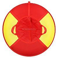 """Надувные ватрушки - тюбинги предназначены для катания с горок взрослых и детей. Дно ватрушки выполнено из прочного ПВХ материала, а верх выполнен из прочной ткани Оксфорд, имеющий яркий сочный принт, состоящий из двух привлекательных цветов - желтый и красный. Возьми с собой на гору свое собственное солнышко!<br><br><B><p><font color=""""#ff0000"""">Важно! Если камера не заполнила ватрушку означает, что она не полностью надута и необходимо продолжать надувать камеру до указанных в инструкции значений давления (до полного заполнения чехла)</font></p></B><br><br>Специально разработанный материал ПВХ устойчив к низким температурам (-40 до + 50 градусов) и ультрафиолетовым лучам. Благодаря глянцевой поверхности днища скольжение получается максимально быстрое и комфортное. Плотность ПВХ не ниже 650 г/м2. Специальная армированная нить в основе ПВХ ткани обеспечивает прочность и долговечность. <br><br>Использование специальных синтетических (лавсановых Л130) нитей (не подвержены гниению, устойчивы к влаге) позволяет ватрушкам быть максимально надежными в использовании.<br><br>Камеры изготовлены из натурального каучука, имеют больший запас прочности.<br><br>Синтетические стропы прошли тестирование в сертифицированных органах - прочность на разрыв не менее 1000 кг.<br><br>При производстве ватрушки используется двойной усиленный шов на каждой стадии, что обеспечивает максимальную надежность и долговечность изделия. Ручки пришиваются «под стропу», что практически исключает их вырывание.<br><br>Уникальное, запатентованное донышко (место для посадки) позволяет чувствовать себя максимально комфортно и безопасно при катании. Дополнительная стропа, пришитая под посадочное место, обеспечивает безопасность позвоночника от удара при катании.<br>"""