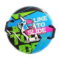 """Санки-ледянки Snowstorm """"Like To Slede"""" предназначены для катания по льду и снегу. Изготовлены из трёхслойного вспененного пластика. Две удобные ручки не позволят Вашему ребёнку выпасть из санок на лихих поворотах."""