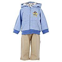 Стильный трикотажный комплект для мальчика от Vitamins, включающий в себя куртку на молнии с капюшоном, боди с распашным воротом и коротким рукавом и штаны на эластичном поясе, - великолепный нарядный ансамбль для похода в гости или визита в поликлинику. Особый шарм курточке придает модная меланжевая расцветка и оригинальный акцент в виде нашивки с изображением звезды шерифа. Застежка на кнопки в нижней части боди значительно облегчает процесс переодевания и замены подгузника.<br>Состав материала: 100% хлопок.
