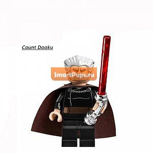 Одной Продажи Звездные войны Граф Дуку Дарт Вейдер 2013 Хром Ручка Световой Меч Minifigures Строительные BlockBricks Baby Дети Игрушки Подарки